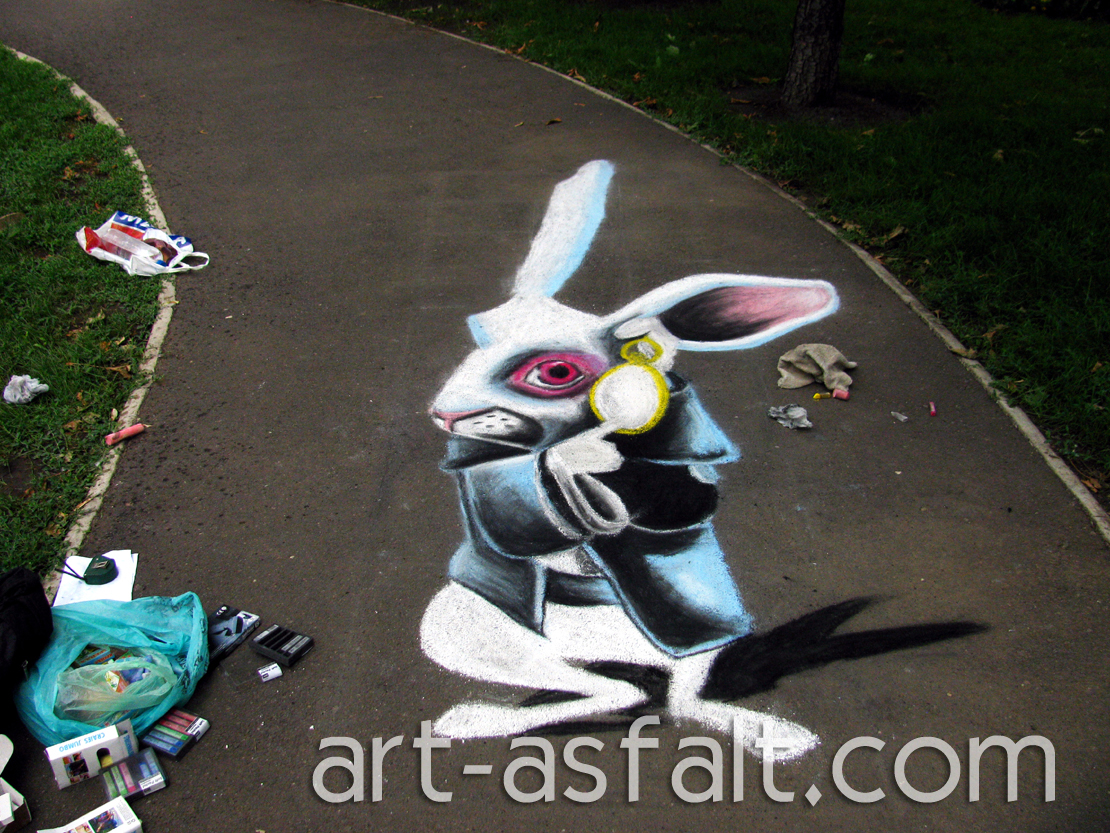 3D рисунок Белый кролик