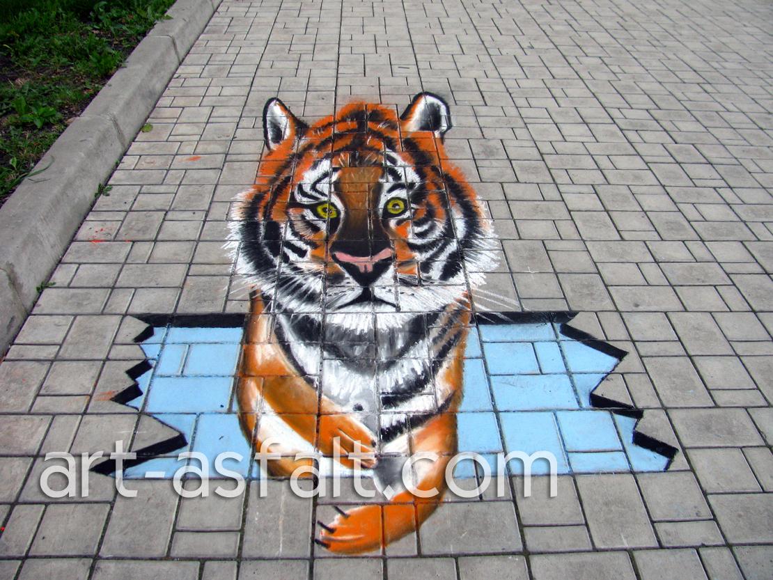 3D рисунок Тигр