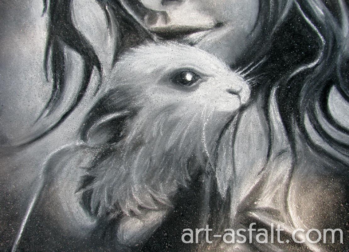 Рисунок девушка и кролик