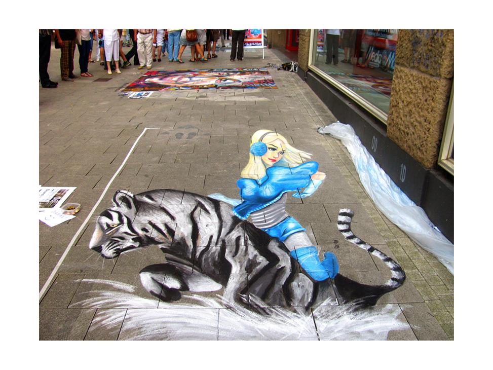 3D рисунок Девушка на тигре